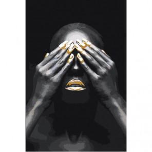 Африканская женщина с закрытыми глазами 80х120 Раскраска картина по номерам на холсте