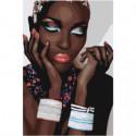 Африканка с браслетами Раскраска картина по номерам на холсте