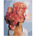 Красная цветочная голова девушки Раскраска картина по номерам на холсте