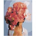 Красная цветочная голова девушки 80х100 Раскраска картина по номерам на холсте