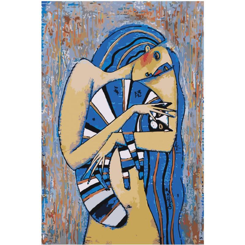 Девушка с голубым котом Раскраска картина по номерам на ...