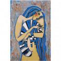 Девушка с голубым котом 80х120 Раскраска картина по номерам на холсте