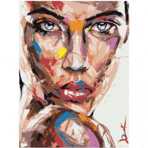 Радужный портрет девушки с голубыми глазами 60х80 Раскраска картина по номерам на холсте