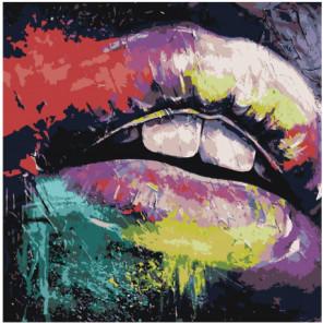 Радужные губы модерн арт Раскраска картина по номерам на холсте