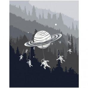Космонавты на карусели Сатурна Раскраска картина по номерам на холсте