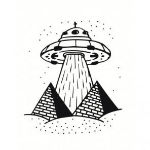 Летающая тарелка и пирамиды Раскраска картина по номерам на холсте
