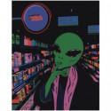 Инопланетянин в супермаркете Раскраска картина по номерам на холсте