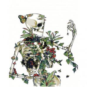 Скелет с цветами и пауком 80х100 Раскраска картина по номерам на холсте