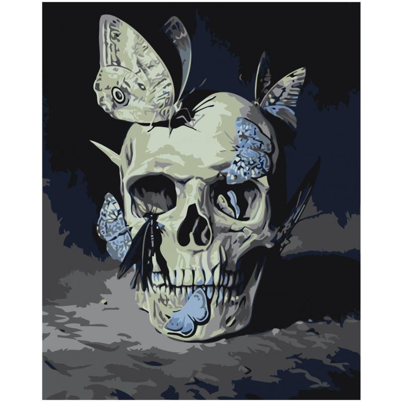 Череп с голубыми бабочками Раскраска картина по номерам на ...