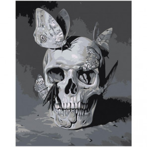 Череп с серыми бабочками Раскраска картина по номерам на холсте
