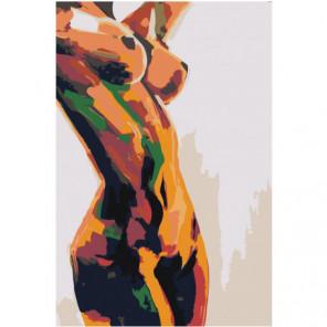 Радужная обнаженная женская фигура Раскраска картина по номерам на холсте