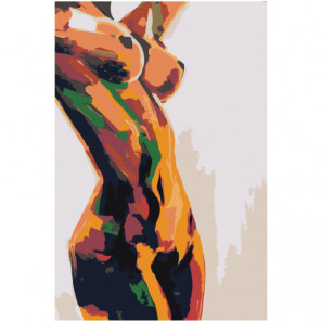 Радужная обнаженная женская фигура 80х120 Раскраска картина по номерам на холсте