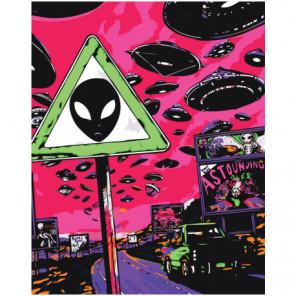Осторожно, инопланетяне Раскраска картина по номерам на холсте