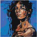 Радужная девушка с мокрыми волосами 80х80 Раскраска картина по номерам на холсте