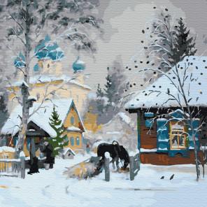 Зима в деревне Раскраска картина по номерам на холсте KH0704