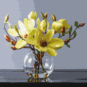 Желтые магнолии Раскраска картина по номерам на холсте KH0708