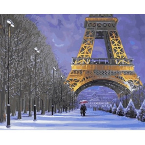 Зимняя прогулка по Парижу Раскраска картина по номерам на холсте GX30824