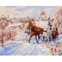 Зимние забавы Раскраска картина по номерам на холсте МСА700