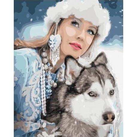 Снежная краса Раскраска картина по номерам на холсте GX34336