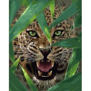 Сложность и количество цветов Оскал гепарда Раскраска картина по номерам на холсте МСА684