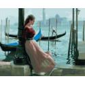 Девушка стояла у причала Раскраска картина по номерам на холсте MCA823