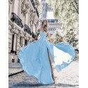 Мадам в голубом платье Раскраска картина по номерам на холсте MCA834