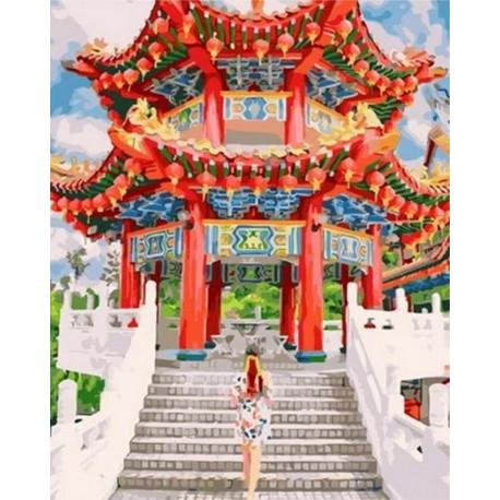 Китайский храм Раскраска картина по номерам на холсте MCA866