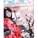 Гейша под зонтиком Раскраска картина по номерам на холсте MCA887