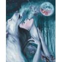 Вою на луну Раскраска картина по номерам на холсте PK59040