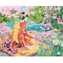 Японская красавица Раскраска картина по номерам на холсте PK59070
