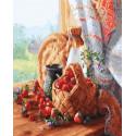 Лукошко с клубникой Раскраска картина по номерам на холсте МСА498