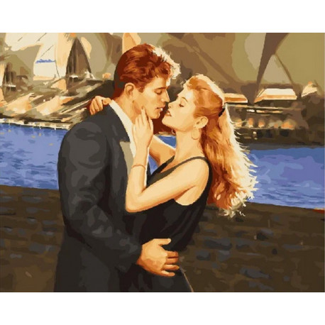 Поцелуй влюбленных Раскраска картина по номерам на холсте МСА486