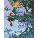 Русалка и единорог Раскраска картина по номерам на холсте MCA526