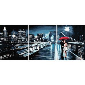 Свидание на мосту Триптих Раскраска картина по номерам на холсте PX5283