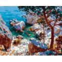 Скалистый берег моря Раскраска картина по номерам на холсте GX25536