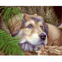 Задумчивый щенок Раскраска картина по номерам на холсте МСА328