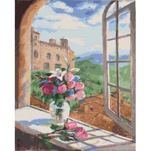 Цветы у открытого окна Раскраска картина по номерам на холсте МСА416