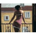 Девушка на балконе Раскраска картина по номерам на холсте МСА419