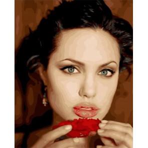 Сложность и количество цветов Анджелина Джоли Раскраска картина по номерам на холсте МСА615