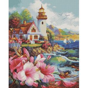 Домик с садом у маяка Алмазная вышивка мозаика на подрамнике UА108