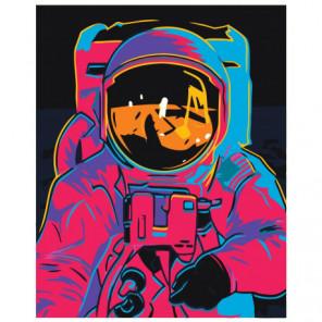 Астронавт в скафандре неон Раскраска картина по номерам на холсте