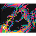 Радужный дракон 80х100 Раскраска картина по номерам на холсте