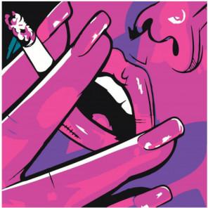 Губы сигарета неон поп арт Раскраска картина по номерам на холсте