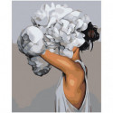 Девушка с белыми пионами Раскраска картина по номерам на холсте