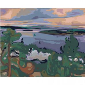 Речной пейзаж 80х100 Раскраска картина по номерам на холсте