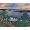 Речной пейзаж 100х125 Раскраска картина по номерам на холсте