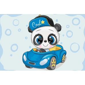Панда в машине Алмазная мозаика на подрамнике LC032