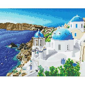 Фото холста Лазурный Санторини Алмазная мозаика на подрамнике LG196