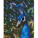 Неоновый павлин Алмазная мозаика на подрамнике LG187