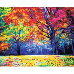 Фото холста Радужный лес Алмазная мозаика на подрамнике LG229